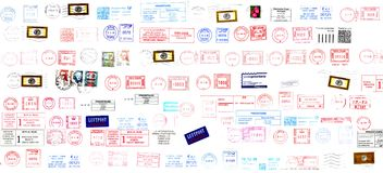värld för portostämplar Arkivfoton