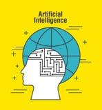 Värld för profil för mänskligt huvud för konstgjord intelligens global royaltyfri illustrationer
