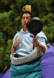 värld för säkring för buskerscirkusfestival Arkivfoto