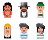 värld för spanjor för folk för symboler för avatarfrenc tysk royaltyfri illustrationer