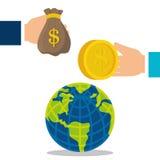 värld för spekulation för bild för begreppsmässig krisekonomi global Royaltyfria Bilder