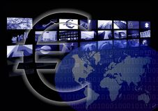 värld för tecken för skärm för affärseuroöversikt åtskillig Arkivfoto