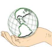 Värld i din hand - västra halvklot royaltyfri illustrationer