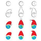 Värld med en santa hatt eps10 blommar yellow för wallpaper för vektor för klippning för rac för orange modell vaddera ric häftand royaltyfri illustrationer