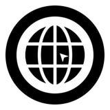 Värld med illustrationen för färg för svart för symbol för website för begrepp för pilvärldsklick i den runda cirkeln royaltyfri illustrationer