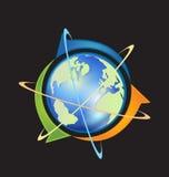 Värld med pilillustrationen Arkivbild