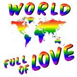 Värld mycket av förälskelse Worldmap in i hjärtan LGBT-färger Arkivfoton