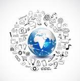 Värld och teknologibegrepp med klottertechnolog stock illustrationer