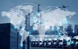 Värld - sändnings och trans. för logistik för bred affärsbransch total- royaltyfri fotografi