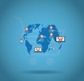 Värld som shoppar online-vektorn Royaltyfri Foto