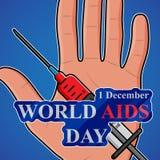 Världen BISTÅR dag 1st den December världen bistår dagaffischen också vektor för coreldrawillustration royaltyfri illustrationer