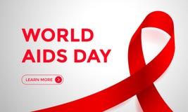 Världen BISTÅR för bandrengöringsduken för dagen röd bakgrund för banret för 1 dag för December medvetenhetvärld Symbol eller emb vektor illustrationer