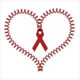 Världen bistår röda banersymboler för dagen som formar en hjärta Royaltyfria Bilder