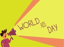 Världen för handskrifttexthandstil bistår dag Begreppsbetydelse 1st December som är hängiven till att lyfta medvetenhet av HJÄLPM stock illustrationer