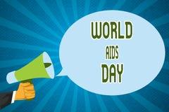 Världen för ordhandstiltext bistår dag Affärsidé för 1st December som är hängiven till att lyfta medvetenhet av HJÄLPMEDLEN stock illustrationer