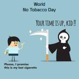 Världen ingen tobakdagcelebation, tecknet för tecknad film 31 för lägenheten för minnedesignillustrationen gullig kan tendera pop Royaltyfri Foto