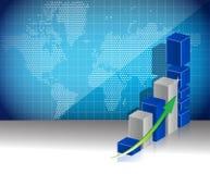 Världen kartlägger begrepp för vinster för affärsgraf Arkivbild