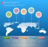 Världen kartlägger den infographic mallen Royaltyfria Foton