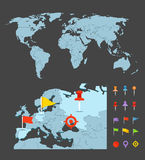 Världen kartlägger den infographic mallen Royaltyfria Bilder