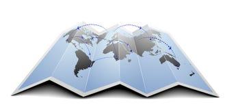 Världen kartlägger flygruttar royaltyfri illustrationer