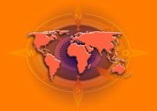 Världen kartlägger jordklotet arkivbilder
