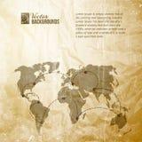 Världen kartlägger i tappning mönstrar. Fotografering för Bildbyråer