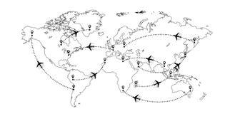Världen kartlägger och hyvlar royaltyfri illustrationer