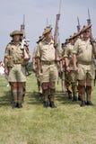 Världen kriger reenactment II av soldater Arkivfoto