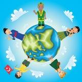 Världen lurar vektorillustrationen stock illustrationer