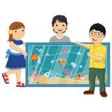 Vektorillustration av ungar som håller ögonen på fiskar i Arkivfoton