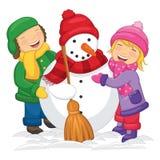 Vektorillustration av ungar som gör snögubben royaltyfri illustrationer
