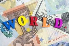Världen och pengarna Arkivfoto