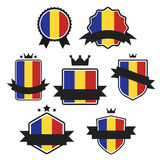 Världen sjunker serie Vektorflagga av Rumänien Arkivbilder