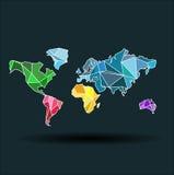 Världsöversikt-länder som är colofful på mörkret - blå bakgrund Arkivfoto