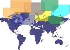 Världsöversikt med ballonger som meddelar Arkivbild