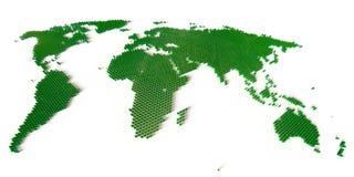Världsöversikt som bildas av flera tusen block Arkivbild