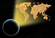Världsöversiktslampa från jorden royaltyfri fotografi
