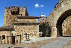Världsarv Caceres på Spanien Arkivbilder