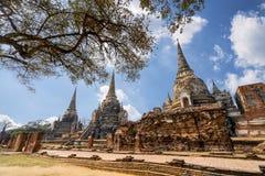 Världsarv på Wat Phra Si Sanphet ayutthaya thailand Royaltyfri Bild