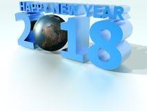 Världsblått 2018 för lyckligt nytt år Royaltyfri Illustrationer