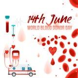 Världsblodgivaredag - 14th Juni baner med att ge blodvälgörenhetbeståndsdelar som isoleras på vit bakgrund Royaltyfri Foto