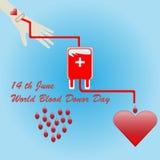 Världsblodgivaredag 14th Juni - vektorbegrepp för donationblod Arkivbilder