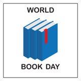 Världsbokdag Bild av tre blåa böcker med en röd flik royaltyfri foto