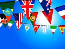 Världsbuntingflaggor över solig himmel royaltyfri illustrationer
