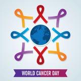 Världscancerdag dag för cancer för malldesignvärld med band vektor illustrationer