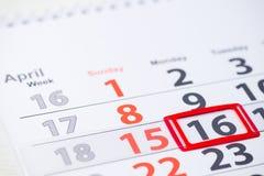 Världscirkusdag 16 April fläck på kalendern Royaltyfria Foton