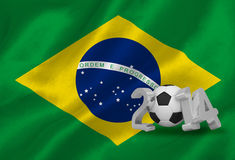 Världscup 2014 med den Brasilien flaggan Royaltyfri Fotografi