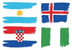 Världscup Ryssland 2018 För flaggavektor för grupp som D hand målas med den rundade borsten stock illustrationer