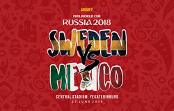 Världscup Ryssland Grup 2018 f Sverige vs Mexiko vektor illustrationer