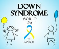 Världsdag av Down Syndrome Klotter för barn med kulöra lodisar stock illustrationer